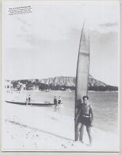 "DUKE KAHANAMOKU AT WAIKIKI 1935+? OAHU HAND PRINTED PHOTOGRAPH ON 8X10"" MAT"