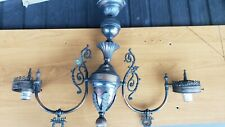 Antique Copper Victorian Ornate 2 light Gas Chandelier  Electrified as is.