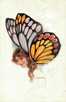 Artist Signed Usabal Butterfly Glamour Lady 05.62