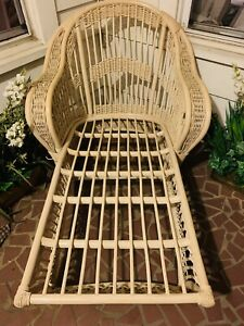 vintage wicker/rattan and bamboo lounger