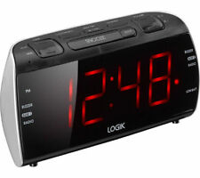 Clock Radio-LOGIK LCRB15 Black&Silver LED Display Brightness Control Inst.Manual