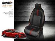KATZKIN BLACK & CRIMSON LEATHER SEAT CVRS FIT 2017-2020 HONDA CIVIC HATCHBACK EX