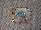 Vintage Navajo Turquoise Nickel Silver Belt Buckle