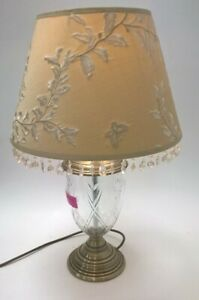 Gorgeous Marks & Spencer's Brass & Glass Lamp With Shade RRP £65. Working #150