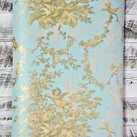 Vintage Victorian Blue Cherub Floral Classic Scroll Gold Designer Gray Wallpaper
