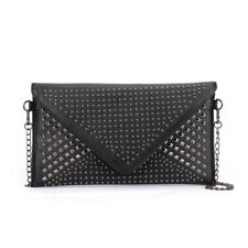 Tonya black studded envelope clutch bag, Diva Trend
