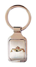 Royal Navy Submarine Service Gilt Leaping Dolphins Brushed Steel Key Fob