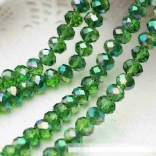 New 8mm 35pcs Faceted Rondelle Bicone Crystal Jewelry Beads Green 002#2