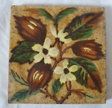 LOVELY sherwin & cotton barbotine FLORAL DESIGN 19TH CENTURY 6 INCH TILE