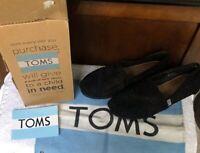 Toms Womens Shoes Size 7.5 Alpargata Black Lace Crochet Moroccan Flats Slip On