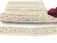 1 Yard Rhinestone Bridal Pearl Crystal Wedding Sash Belt Rhinestone Beaded Trim