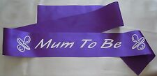 "Purple Satin ""mum to Be"" Baby Shower Sash Favour Decoration With Dummies"