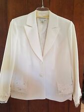 Bloomingdale's - Winter White Blazer w/beading detail - Fully Lined - Plus 16W