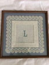 New listing Vintage Bobbin Lace Figural Needlelace Wood Framed L Portrait