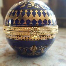 Estee Lauder Porcelain collectible round gold and cobalt Keepsake box Precious