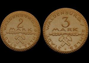 NOTGELD: 2 & 3 Mark 1922. Porzellan. STADT WALDENBURG / SCHLESIEN ⇒ WAŁBRZYCH.