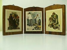 Vintage Norman Rockwell Set Of 3 Wood Wall Plaques