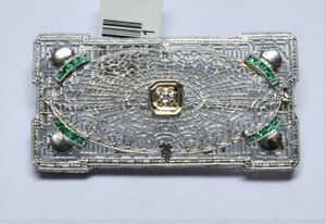 14K Solid White Gold All Natural 0.12T CW Diamond and 0.32 TCW Emerald Brooch