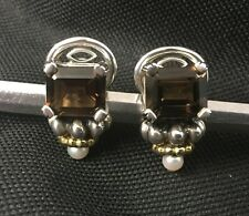 "Vintage Lagos Caviar ""Glacier"" Collection Smoky Brown Topaz Earrings W/ Pearl"