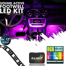 Bluetooth RGB LED Interior Car Kit Under Dash Footwell SMD Strip Accent Lighting