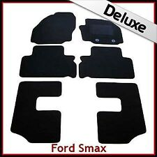 Ford S-Max 7-Seater 2006-2012 Oval Clips Tailored LUX 1300g Carpet Mats BLACK