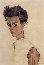Self-Portrait by Egon Schiele Giclee Fine ArtPrint Repro on Canvas