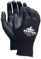 MEMPHIS GLOVE BLACK PU COATED GLOVES,96699 MEDIUM (12 Pair)