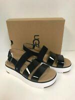 Ugg Women's Braelynn Black Patent Leather/Suede Platform Sandal
