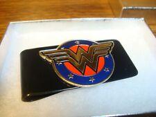 Metal Black Metal Spring Money Clip Wonder Women Logo Image design Embossed