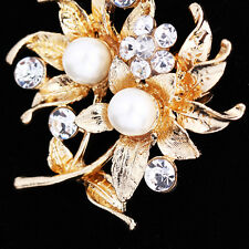Women Bridal Crystal Gold Plated Pearl Flower Bouquet Wedding Party Brooch Pin