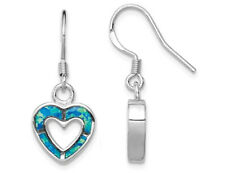 Ópalo sintético azul creados Pendientes del corazón en plata esterlina