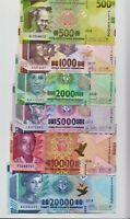 GUINEA:  Complete banknotes Set - 500 - 20,000 Francs 2016-2018  UNC Banknotes