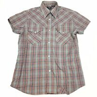 Gstar G-Star Raw Mens Red Grey Check Short Sleeve Pearl Snap Cotton Shirt Size M