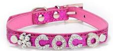 PERSONALISED Dog Cat Pet NAME Collar Crystal Rhinestone | BLING PU Leather |