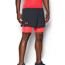 Under Armour UA Mens HeatGear Anthacite Qualifier 2 In 1 Sports Running Shorts L