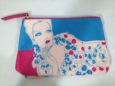 Estee' Lauder Blue Pink Woman & Lipstick Cosmetic Makeup Accessories Bag Clutch