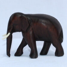 Handcarved Wooden Elephant made in Thailand from Jamjuree wood 8cm size