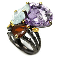 REAL AMETHYST  AQUAMARINE OPAL CHROME DIOPSIDE STERLING 925 SILVER RING 7.5