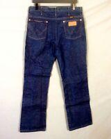 vtg 80s Wrangler Dark Wash Rigid Barely Worn Straight Leg Denim Jeans sz 34 X 30