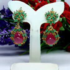 NATURAL 10X13mm. RED RUBY GREEN EMERALD WITH PERIDOT LONG EARRINGS 925 SILVER