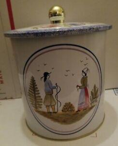 "HB Henriot Quimper Tin Canister Folk Art Couple France 6.5"" Tall moisture lid"