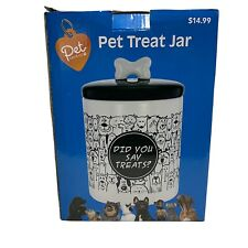 "Pet Central, Pet Treat Jar, 9"" Tall, 6"" Diameter, Ceramic"