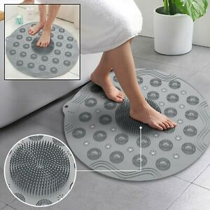 Foot Massage Shower Mat Non Slip Round Bathroom Suction Cups Bath PVC Rubber