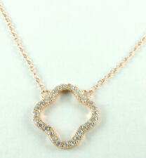 NECKLACE with Pave Cubic Zirconia Clover Sterling Silver with Rose Gold