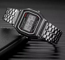 Retro Classic Unisex Women Men Stainless Steel Digital Led Wrist Watch date