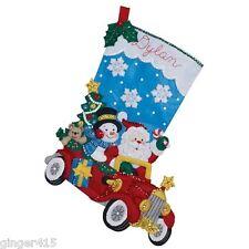 "Bucilla Santa ""Holiday Drive"" Felt Christmas Stocking Kit Snowman OOP 86451"