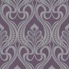 Grandeco Art Nouveau Patrón de Damasco Papel Pintado Metálico con purpurina