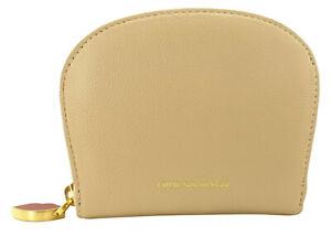 Lulu Guinness Mini Grain Crescent Purse Wallet Zip Around Latte Beige Leather