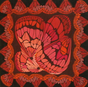 VINTAGE ABSTRACT FLORAL PATTERN OP ART GOUACHE PAINTING