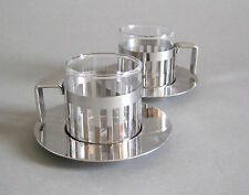 2x Alessi Ardt Mokkatasse Design Aldo Rossi Edelstahl Glas 12 cl Espressotasse